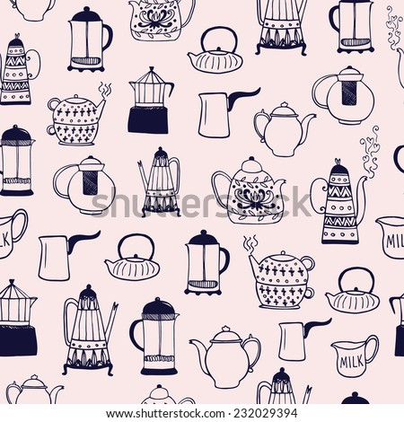 The seamless vector pattern with coffee and tea kettles. Cups, sweets, candies. Food and drinks. Hand drawn vector background - stock vector