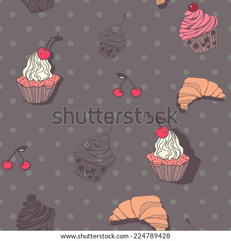 The seamless vector pattern with hand drawn sweets for your design. Can be used for wrapping paper, scrapbook, web site background, greeting cards.