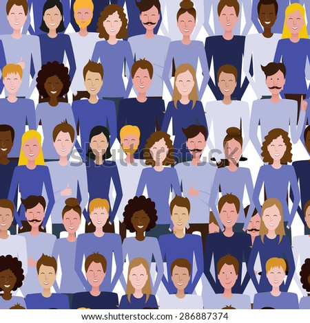 The seamless vector pattern with people. Society, team, public. Social media, communication background for your design.