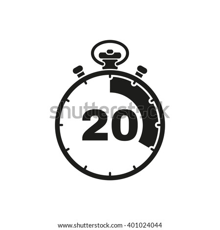 The 20 seconds, minutes stopwatch icon. Clock and watch, timer, countdown symbol. UI. Web. Logo. Sign. Flat design. App. Stock vector - stock vector