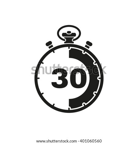 The 30 seconds, minutes stopwatch icon. Clock and watch, timer, countdown symbol. UI. Web. Logo. Sign. Flat design. App. Stock vector - stock vector