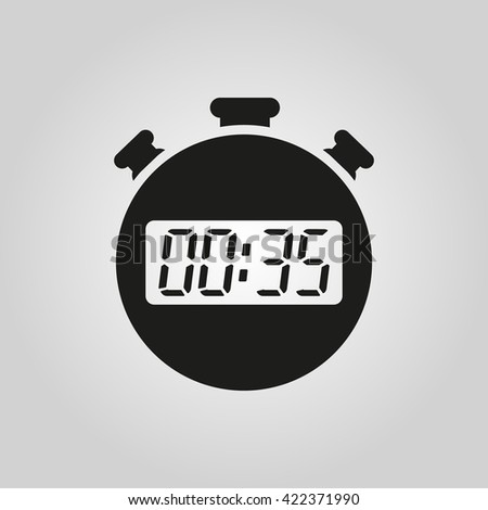 The 35 seconds, minutes stopwatch icon. Clock and watch, timer, countdown symbol. UI. Web. Logo. Sign. Flat design. App. Stock vector - stock vector