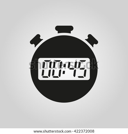 The 45 seconds, minutes stopwatch icon. Clock and watch, timer, countdown symbol. UI. Web. Logo. Sign. Flat design. App. Stock vector - stock vector