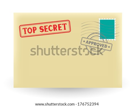 The secret correspondence, closed envelope with stamp on the white background - stock vector