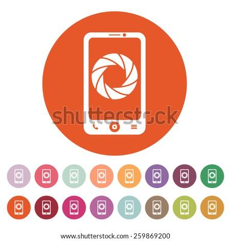 The selfie icon. Foto symbol. Flat Vector illustration. Button Set - stock vector