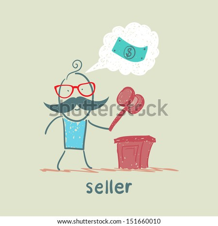 the seller at the auction with a hammer - stock vector