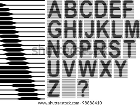The set consists of cells of a grid for creation of a background of diplomas and certificates. Letters of the English alphabet and figure consist of lines of a variable thickness. - stock vector