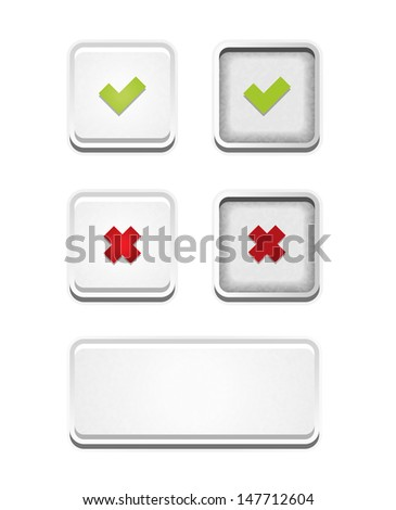 The set of accept, false and blank white button / The accept and false buttons set / Accept and false - stock vector