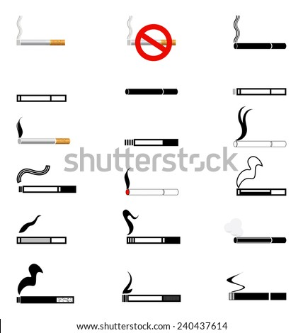 The set of black symbols cigarettes. Symbols cigarettes on white background. - stock vector