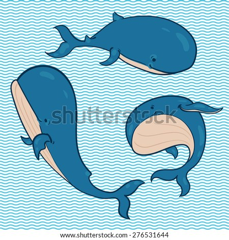 the set of blue whales in different poses  on the background of waves - stock vector