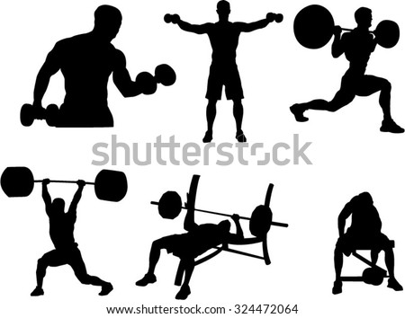 The set of 6 bodybuilding silhouette - stock vector