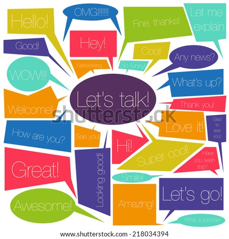 The set of bubble elements with speech. The idea of networking, social media, chatting and journalism  for your design. Vector background - stock vector