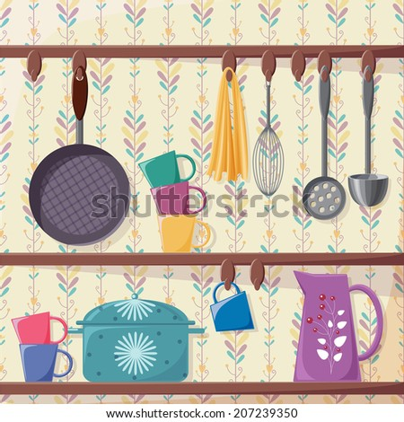 The set of cooking utensils on the kitchen shelves. The floral vertical background is a seamless pattern. - stock vector