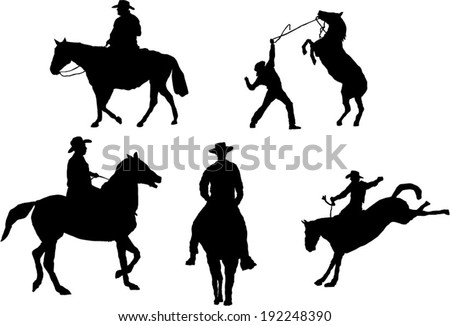 The set of 5 cowboy silhouette - stock vector