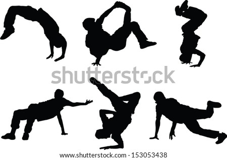 The set of 6 Dancer silhouette figures - stock vector