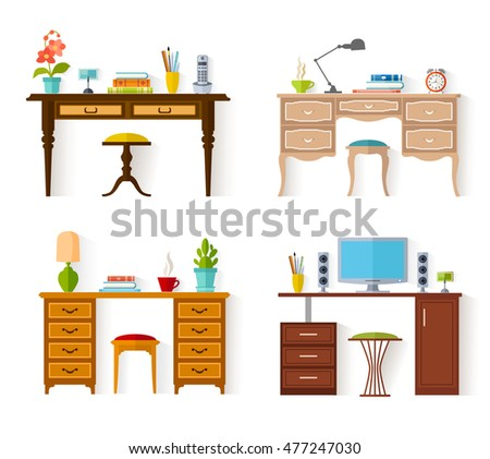 The set of desktops isolated on white background. Vector illustration. A collection of work tables for learning in flat style.