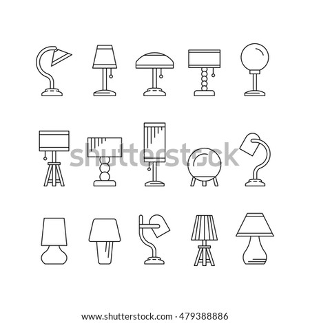 Set elements lighting design table lamps stock vector hd royalty the set of elements of lighting design table lamps of various types and sizes for aloadofball Choice Image