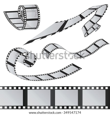 The set of films. 35mm Film roll. Realistic 3D image. Old film strip. Movie time Vector illustration. Isolated on white. - stock vector