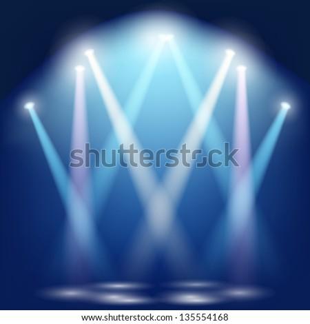 The set of floodlights illuminate the scene. - stock vector