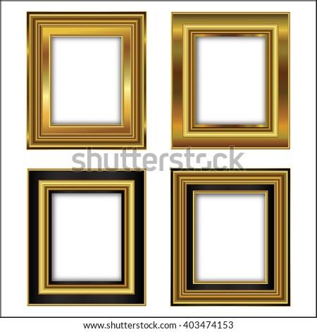 Set Four Gilded Frames Paintings Stock Vector 403474153 - Shutterstock
