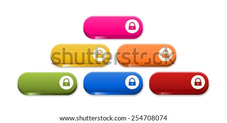 the set of glossy color buttons with lock pictogram / button with lock icon / the button - stock vector