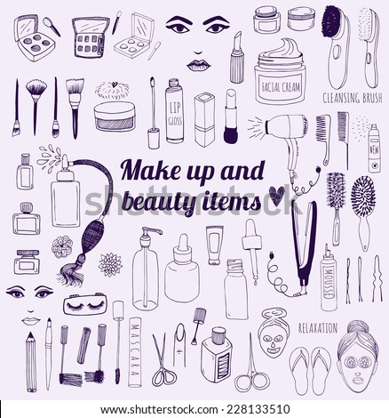 The set of hand drawn beauty and wellness items. Vector background for your design. - stock vector
