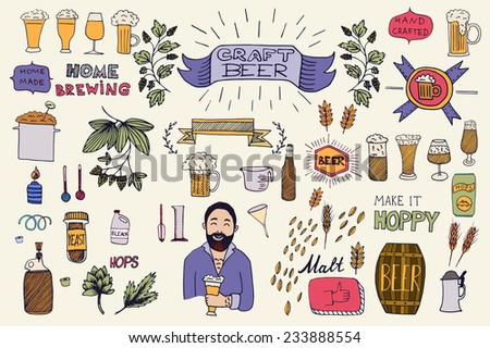 The set of hand drawn beer info graphics for your design. Home brewing, crafted beer. Black and white vector illustration.  - stock vector