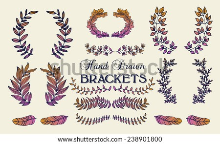 The set of hand drawn vector circular decorative elements for your design. Leaves, swirls, floral elements, feathers, dividers.  - stock vector