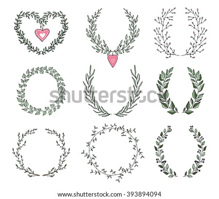 The set of hand drawn vector circular decorative elements for your design. Leaves, swirls, floral elements. For print and web design. Can be used for logo. - stock vector