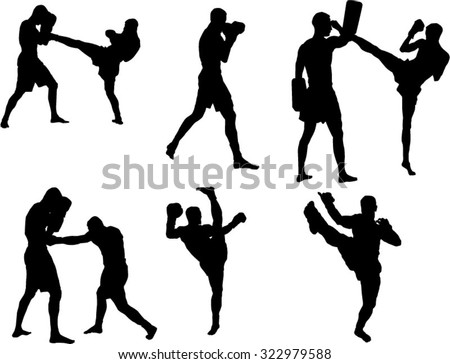 The set of 6 Kickbox silhouette - stock vector
