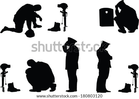 The set of memorial day silhouette - stock vector