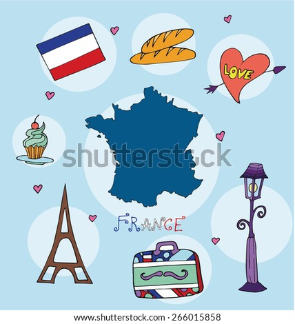 The set of national profile of the geographic maps of the france state designed cartoon on the colored background - stock vector