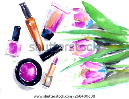 The set of pink cosmetics and flowers. Watercolor vector illustration
