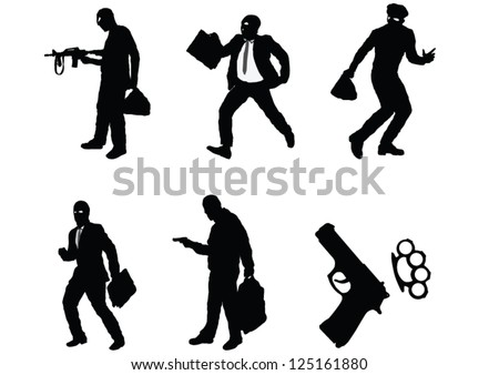 The set of Robber silhouette - stock vector