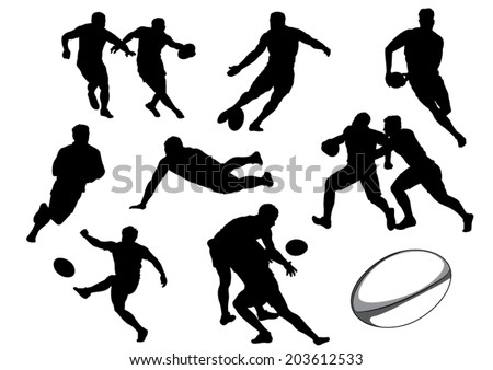 The Set of Rugby Player Silhouettes. Vector Image
