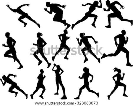 The set of 14 runner silhouette - stock vector