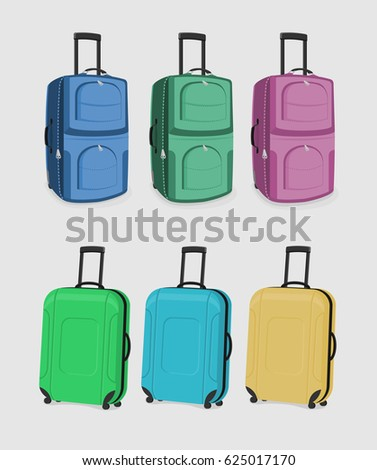The Set of Suitcases. Six carry-on bags isolated on a white background.