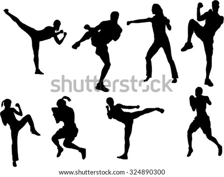 The set of 8 Tae Bo silhouette - stock vector