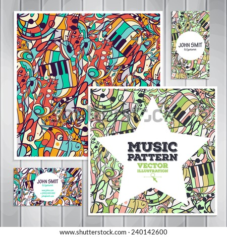 The set of templates with a musical theme. Vector texture can be used for music and dance posters, printing, websites, surface texture, banners. Illustration contains seamless pattern. - stock vector