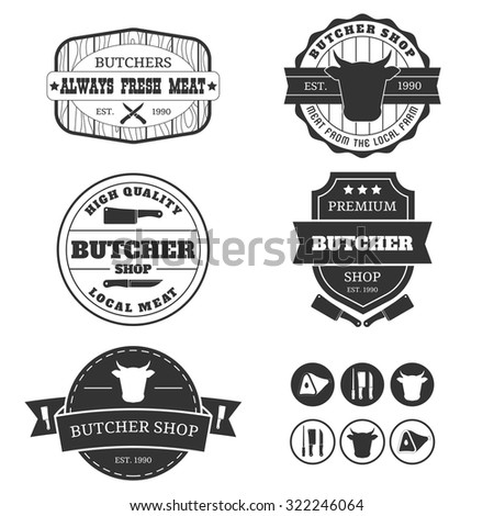 The set of the monochrome elements for the butcher shop. Logo for the meat shop. - stock vector