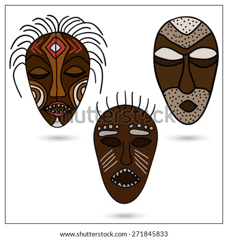 The set of three African masks in color.