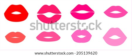 The set of various forms of women's lips on white background - stock vector