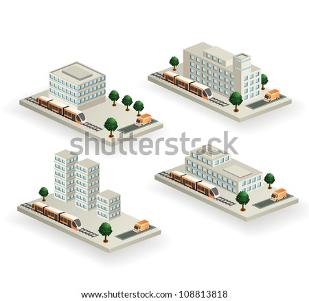 The set of vector buildings with urban transport on a white background - stock vector