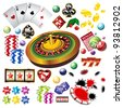 The set of vector casino elements or icons including roulette wheel, playing cards, chips, dice  and more - stock photo