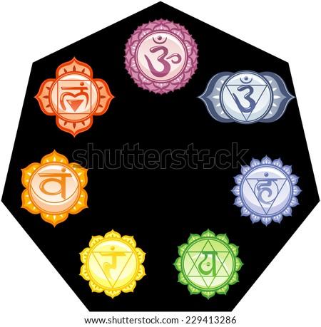 Seven Chakras Energy Mandalas Their Colors Stock Vector 229413286