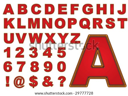 The sewn letters - stock vector
