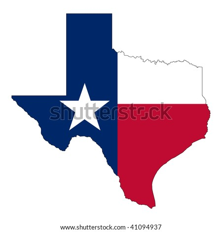 The Shape of Texas. Texas flag inside the map. - stock vector