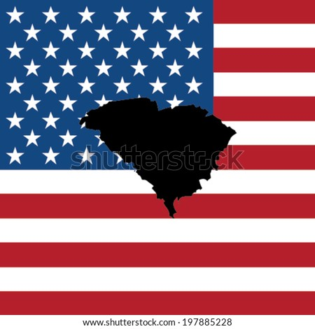 The shape of the state of South Carolina with the American Flag in the Background