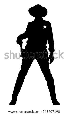The Sheriff pulls out a gun. Silhouette poses in full growth. - stock vector