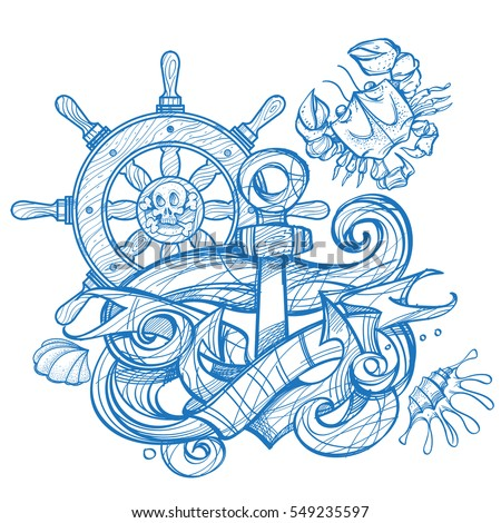 The ship's anchor, steering wheel and crab tattoo. Monochrome illustration for design t-shirts and other items. Sea monster sticker. Illustration for coloring.